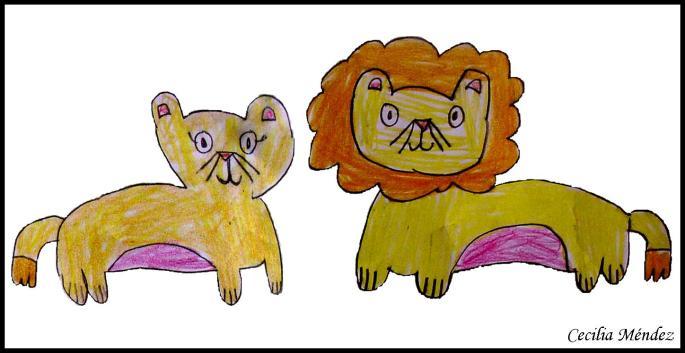 Imagen 2. Pareja de leones (Panthera leo leo). Dibujado por Cecilia Méndez (10 años) del colegio Pablo Picaso, Valladolid.